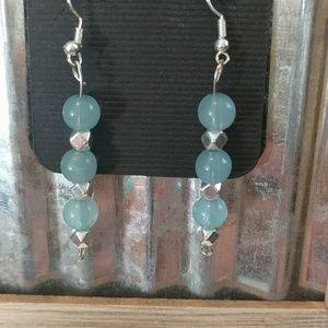Translucent blue bead earrings